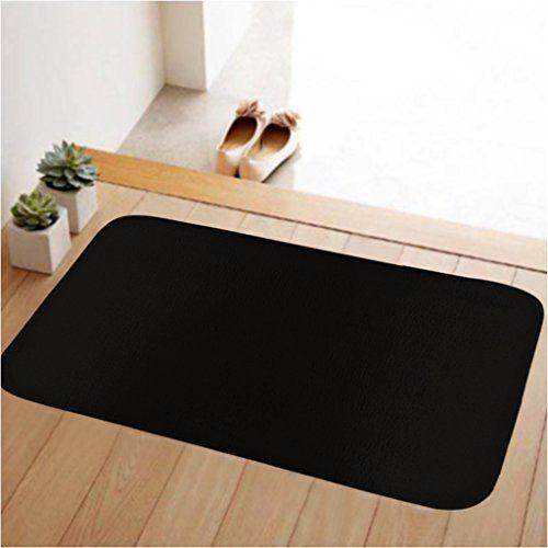ToLuLu Small Doormat Low Profile Door Mat Door Indoor/Bedroom/Front Door/Bathroom/Kichten etc Mats,23.6 x 15.7 inches,Anti-slip,Lock water,enviroment,Solid Black *** Check out the image by visiting the link.