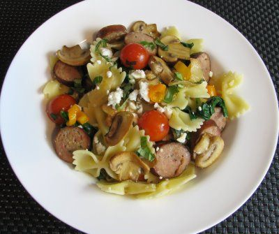 Another great recipe from my favorite cooking blog :-): Extreme Easy, Recipe, Dishes, Grape Tomatoes, Chicken Farfalle, Feta Omg, Chicken Sausages, Cooking Blog, Favorite Cooking