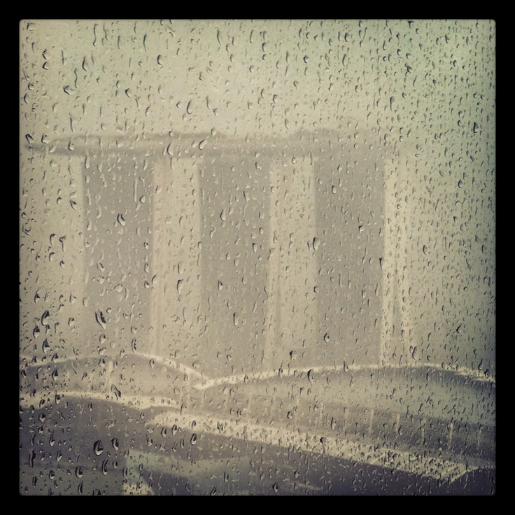 From One Marina Boulevard- One fine rainy day, the beautiful view of Marina Bay Sands, Singapore.