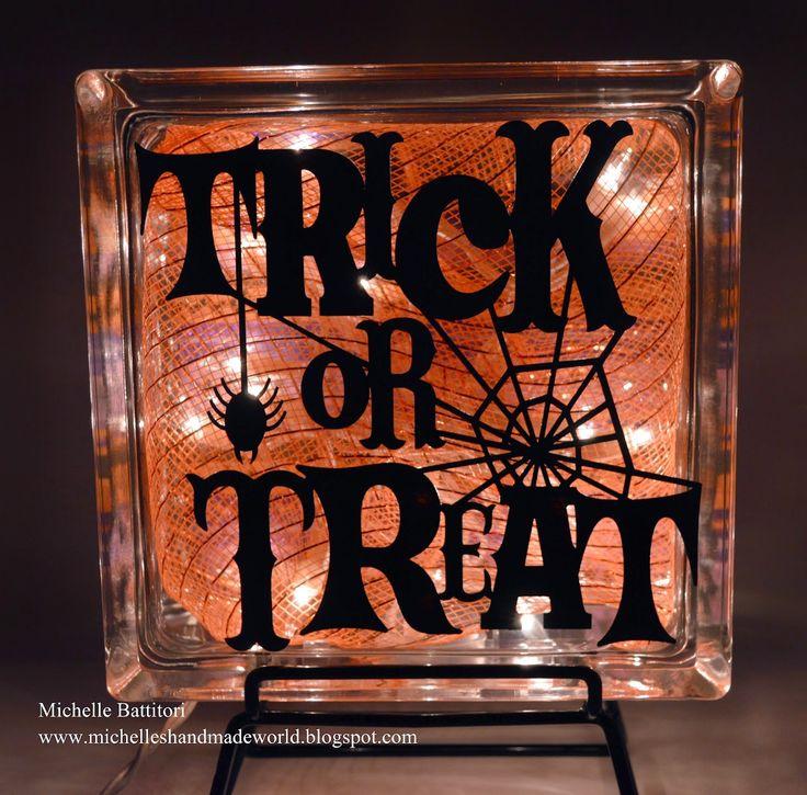 Michelle's Handmade World: Two-Sided Vinyl Glass Block - Halloween