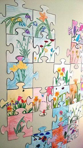 Samenwerken aan een muurvullende puzzeltekening