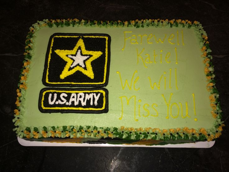 Go Army! A full sheet cake decorated complete with camo trim for a send off party.