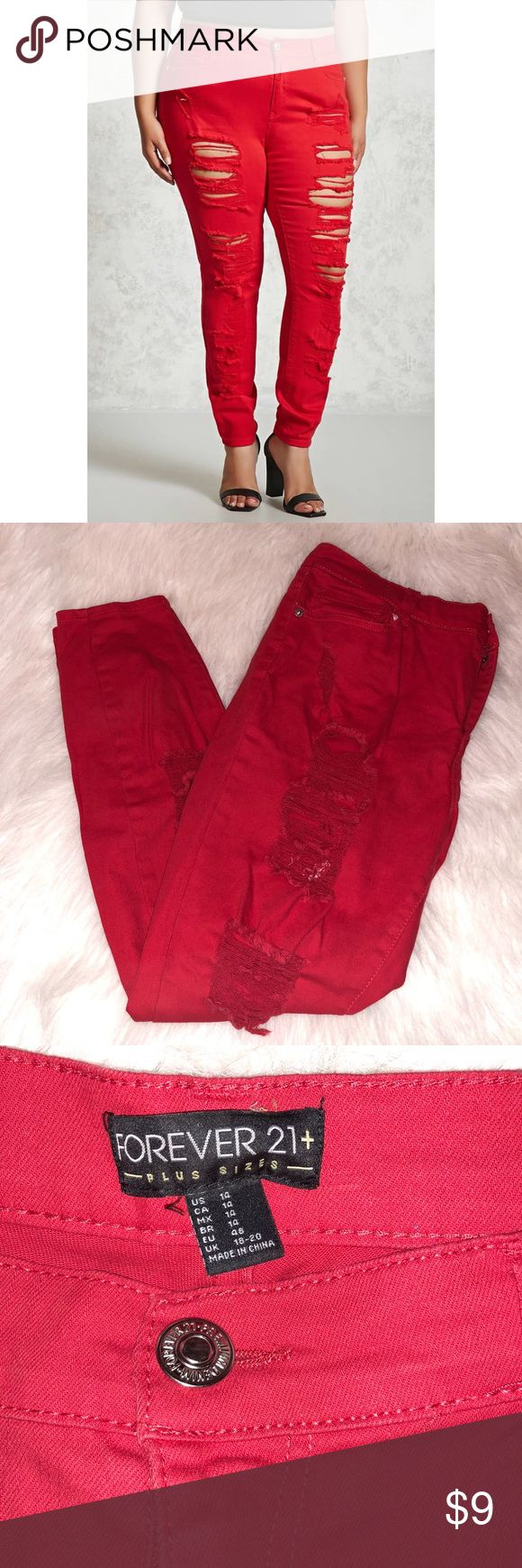 """Forever 21 Red Distressed Skinny Jeans Worn a few times so does have some signs of wear. On the back as seen in the last two photos is black marks from a clay tennis court when I was doing a photo shoot. Otherwise the jeans are in good condition. Distressed jeans. Mid-rise. 98% cotton and 2% spandex. Waist is approx 34"""" and inseam is approx 28"""". Price to sell. ✨All my items under $10 prices are firm. Stock photo from Forever 21 website. ❌NO TRADES❌ Forever 21 Jeans Skinny"""