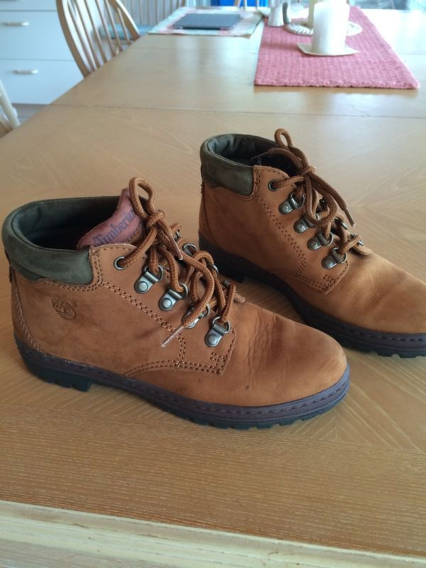 Timberland waterproof tan suede hiking boots