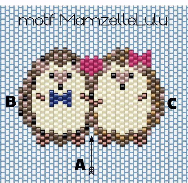 Schema Tissage brick stitch couple d'hérissons