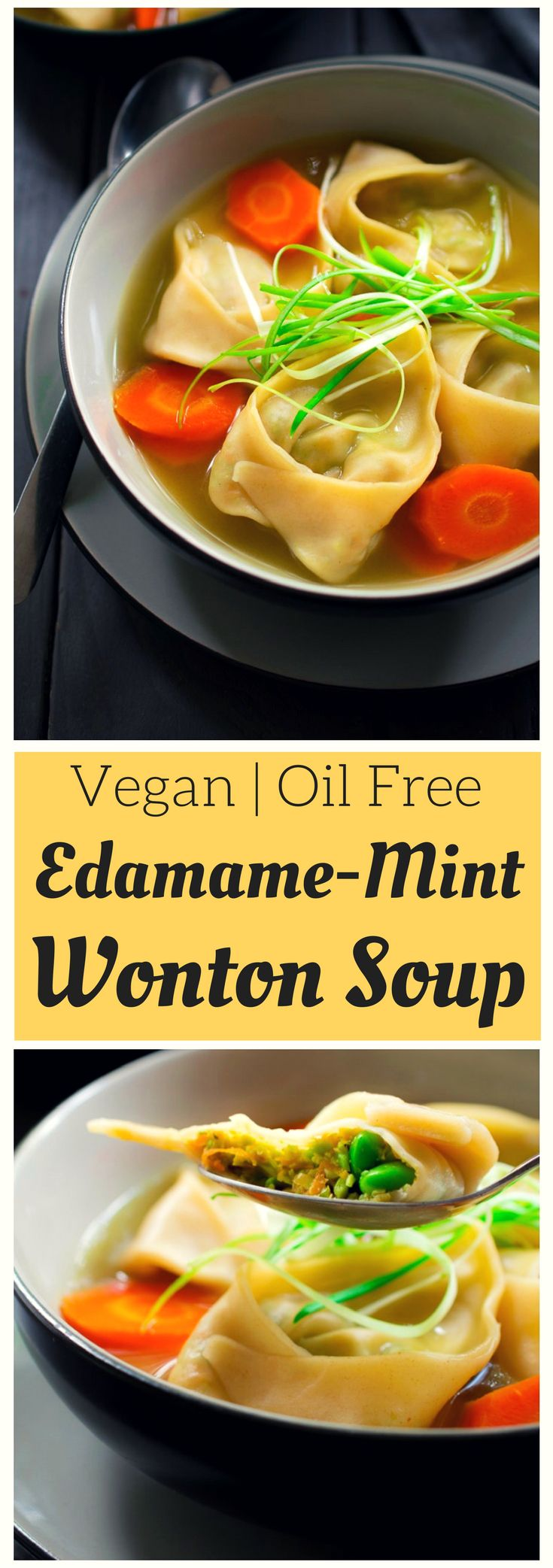 This vegan wonton soup is a steaming and comforting bowl of deliciousness. The vegan wontons are stuffed with an unusual but tasty combination of edamame, carrot and mint, and are floating in a simple vegetable broth to let all those yummy flavours shine through. Served alone as an appetizer or along with rice for a hearty lunch or dinner, this vegan wonton soup is all you need to warm you up on a chilly day!