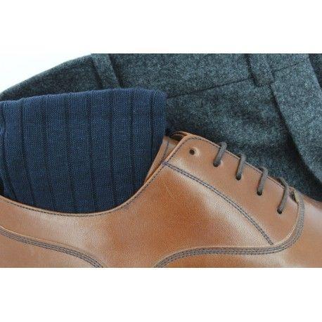 Bresciani Navy Blue Linen Socks