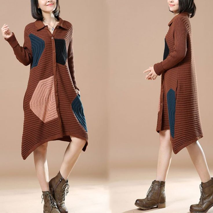 Autumn Polo Neck Long Sleeve Cardigan Brown Sweater