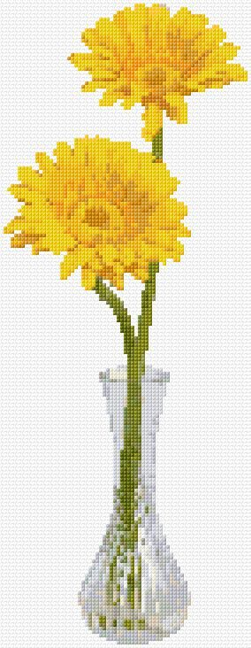 Cross Stitch | Daisies in a Vase xstitch Chart | Design