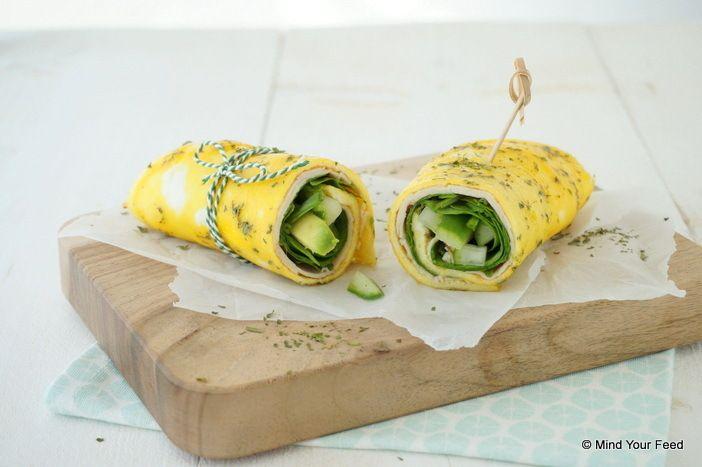 Omelet wrap met kipfilet en spinazie - Mind Your Feed