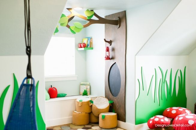 Woodland playroom! Designed by Mollie Openshaw of DesignLovesDetail.com. The tree is a chalkboard!