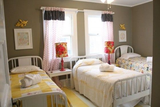 Twin beds - she has three bedrooms that each have 3 twin beds in them. Vintage beds