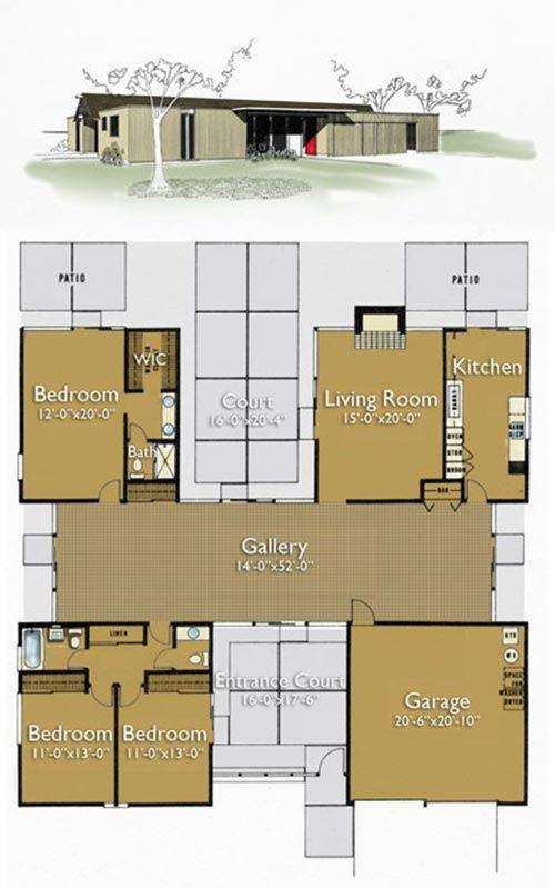 Best 25 eichler house ideas on pinterest joseph eichler for Atrium home plans
