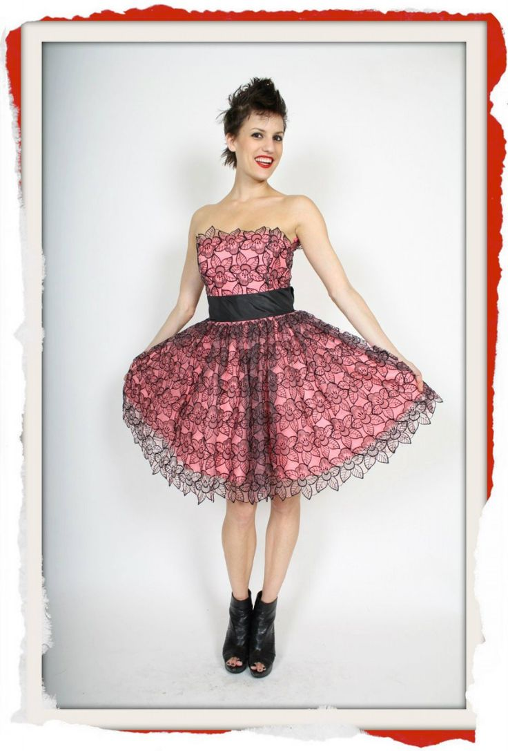 Classic Betsey Johnson Pink Satin and Black Tulle Lace formal dress with black sash and built in corset boning. $249 info@fashionjazz.com.au