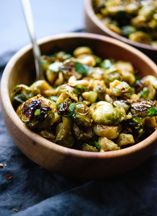 Roasted Brussels sprouts tossed with spicy Kung Pao sauce