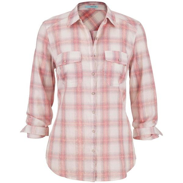 maurices Distressed Plaid Button Down Shirt In Light Pink ($29) ❤ liked on Polyvore featuring tops, pink clay combo, long tops, pink shirt, cotton shirts, button up shirts and plaid button up shirts