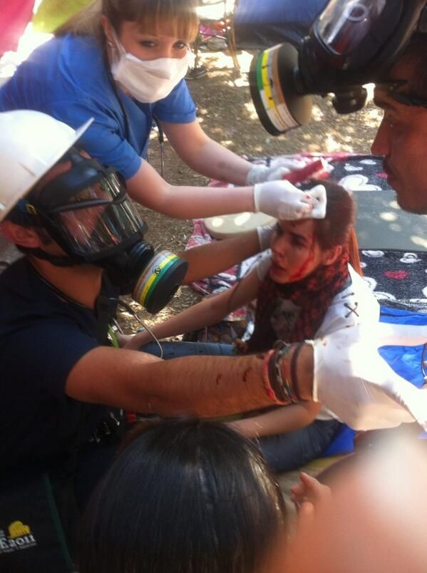A protestor with her bleeding head following her resistance against the police