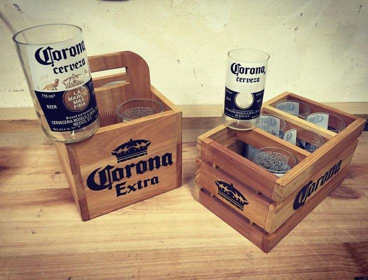 | Cajas realizadas en madera para vasos de Corona en dos tamaños. Ideal para disfrutarlos tomando cerveza con amigos. | #MiNGO#wood #madera #woodwork #woodworking #dowoodworking #furniture #carpentry #carpinteria #handmade #glasses #stencil #corona #coronaextra #customfurniture #industrialdesign de mingodesignuy