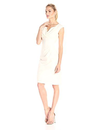 Adrianna Papell Women's Pleated Surplus V-Neck Sheath Costume