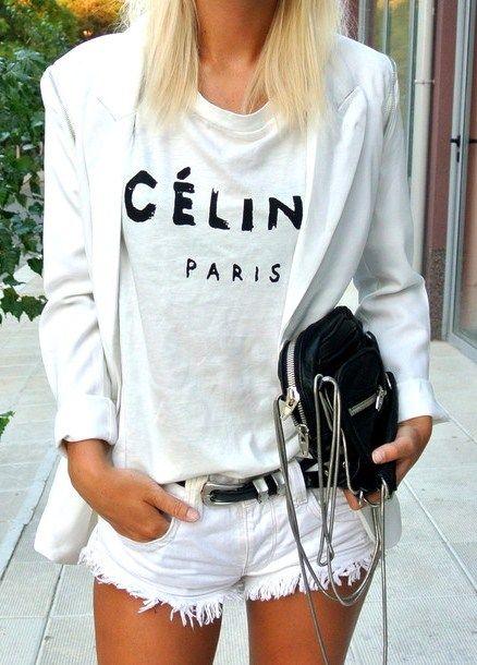 celine + white denim: Tees Shirts, All White, White Shorts, White Denim, White On White, Celine Tees, T-Shirt, Street Style, White Outfit