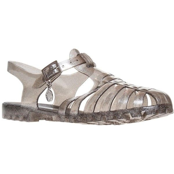 Kurt Geiger Kandice Jelly Rubber Sandals ($26) ❤ liked on Polyvore featuring shoes, sandals, silver, low sandals, kurt geiger shoes, rubber shoes, shiny shoes and polish shoes