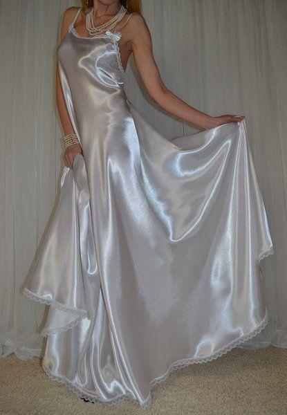 22 best bridal white satin lingerie images on pinterest for White silk slip wedding dress