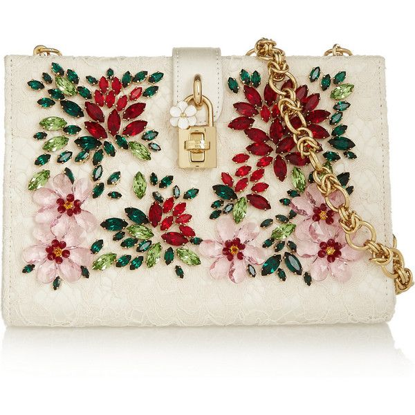 Dolce & Gabbana Crystal-embellished lace shoulder bag (€2.495) ❤ liked on Polyvore