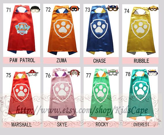 Paw patrol birthday supplies  Paw capes and masks  paw by KidsCape