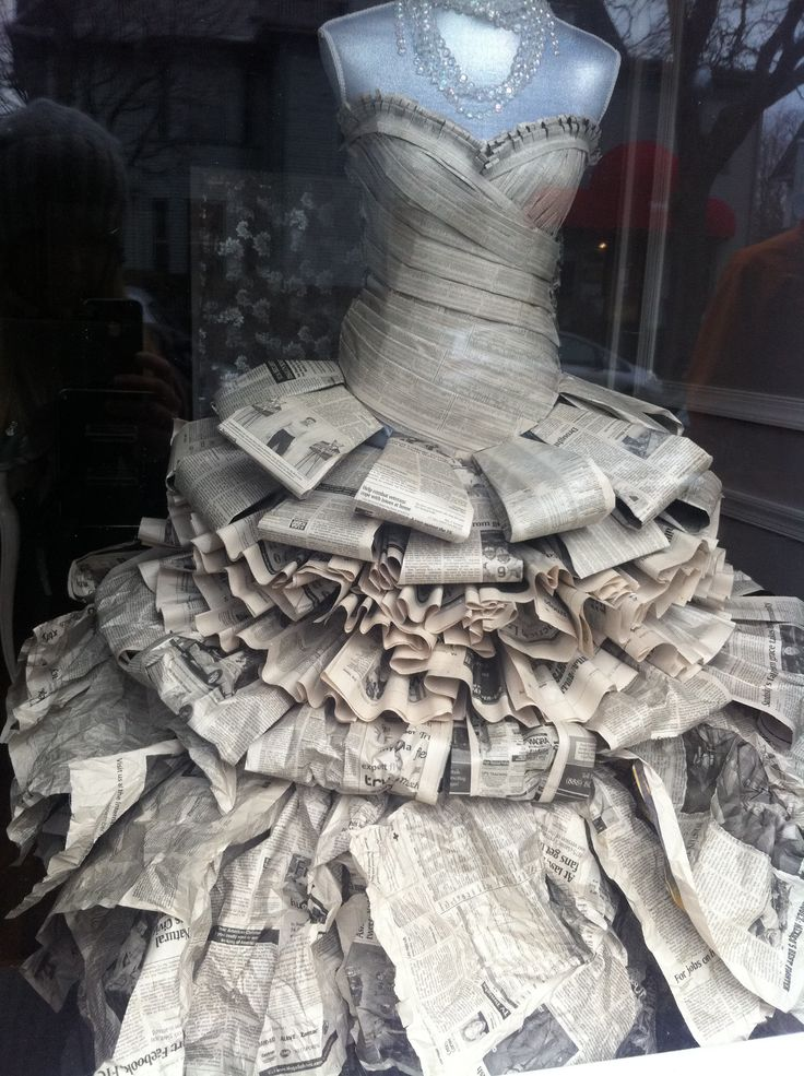 Beautiful dress made out of newspaper. love the bodice!