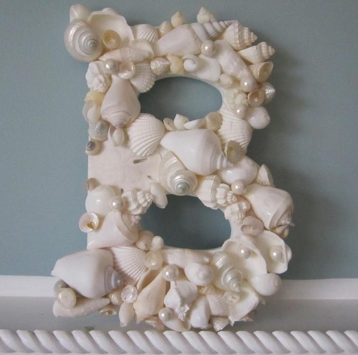 Shell Letter for Beach Decor - Nautical Decor Seashell Wall Letter in Elegant All White, 1pc. $40.00, via Etsy.