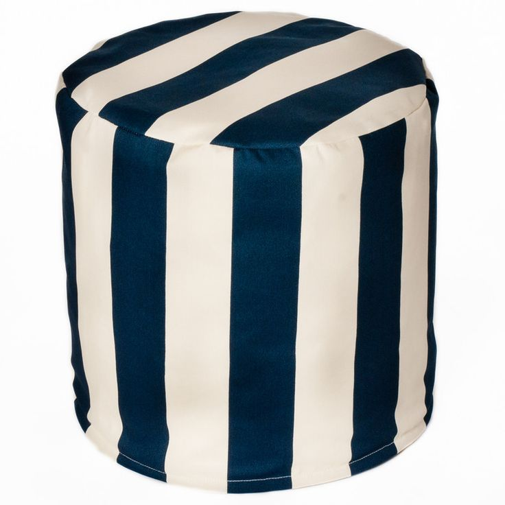 Beachcrest Home Merrill Indoor Outdoor Bean Bag Cylinder Ottoman Upholstery Navy Off White