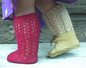 Free Pattern for cute knee socks to knit for American Girl doll.