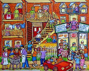 Montreal Summer Street Scene: Neighborhood Block Party, Cooper's Store by Carole Spandau (contemporary), Canadian (Carole Spandau)