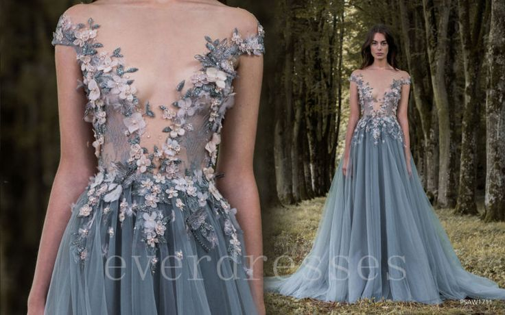 Cinza Com Miçangas Flores noturnas formais longo Vestido de Baile Com Apliques Elegante