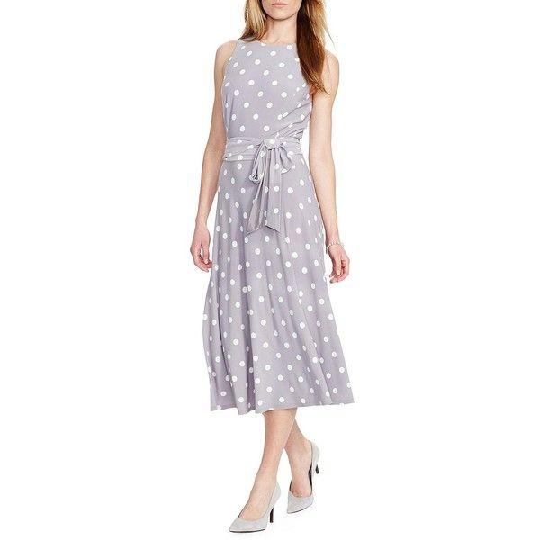 Lauren Ralph Lauren Petite Polka-Dot Jersey Dress ($111) ❤ liked on Polyvore featuring dresses, petite, going out dresses, slimming dresses, polka dot jersey dress, jersey dress and polka dot dress