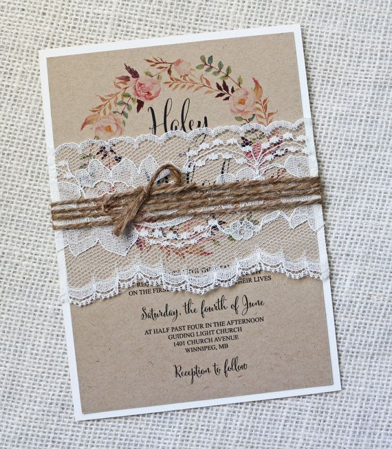Rustic Wedding Invitation Lace Wedding Invitation Vintage
