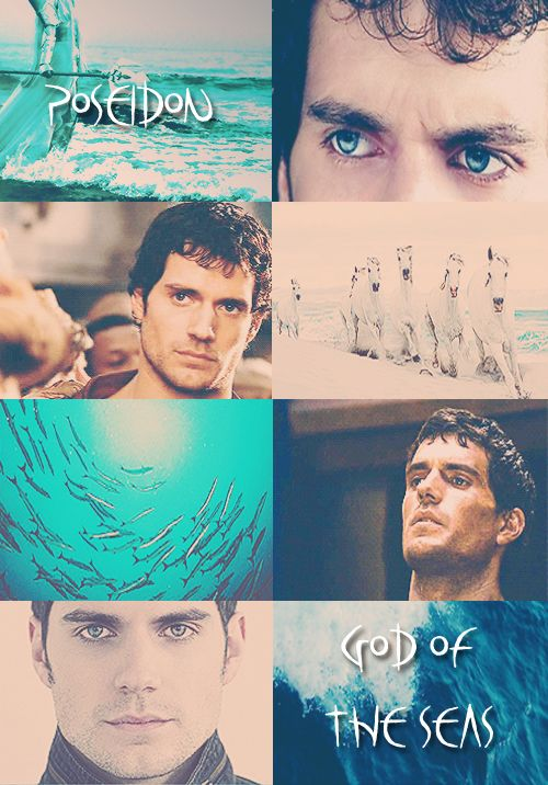 "GREEK MYTHOLOGY MEME: 7/?  ∟Henry Cavill as P O S E I D O N  God of the sea, rivers, floods, droughts, earthquakes, and the creator of horses; known as the ""Earth Shaker"". He is a son of Cronos and Rhea, brother to Zeus and Hades. He rules one of the three realms of the universe as king of the sea and the waters. In classical artwork, he was depicted as a mature man of sturdy build with an often luxuriant beard, and holding a trident. The horse and the dolphin are sacred to him."