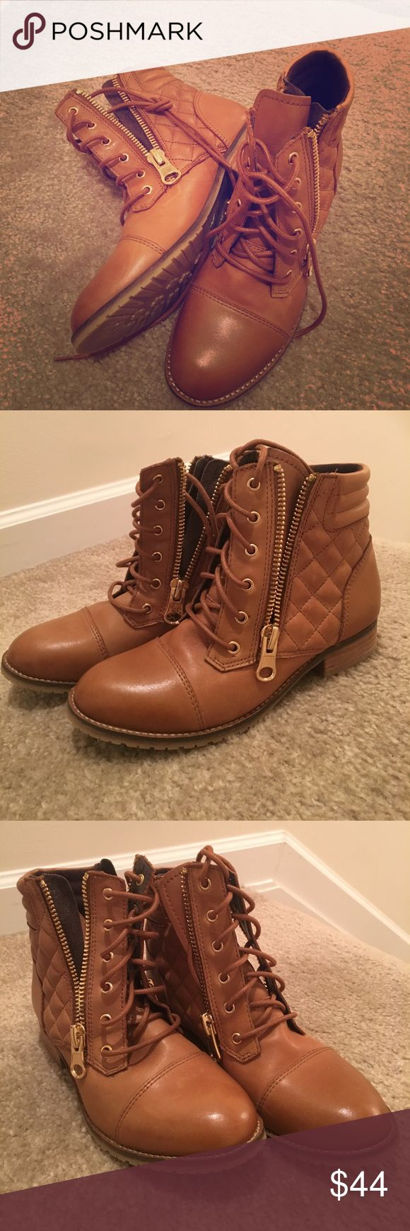 ++New brown leather ALDO boots++ These light brown lace up boots have a stylish quilted leather design and double gold zippers on each side. New, never worn! Aldo Shoes Lace Up Boots