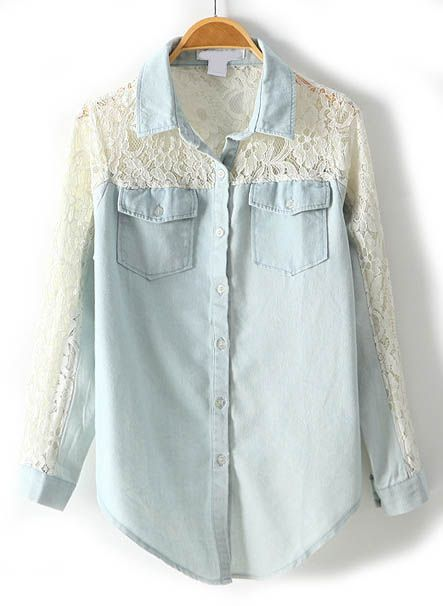 Light Blue Contrast Lace Hollow Denim Shirt