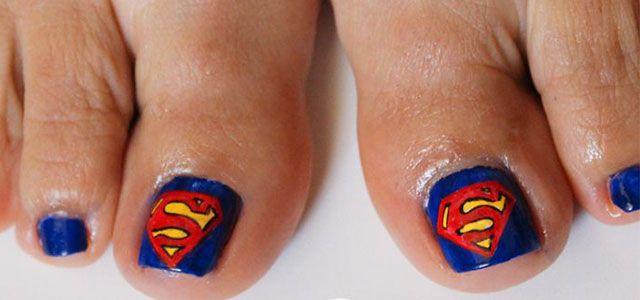 Cool Superman Toe Nail Art Designs Ideas 2014 Pretty Toes Pinterest Toe Nail Art