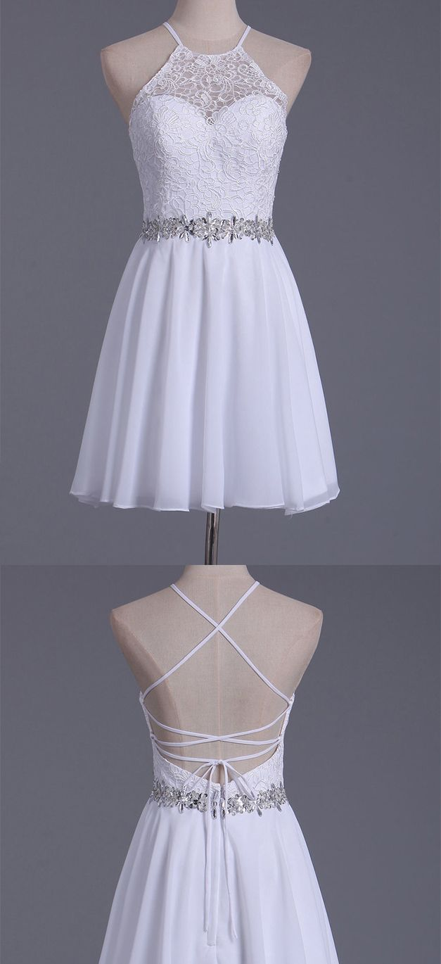 white halter homecoming dresses a line chiffon u lace short