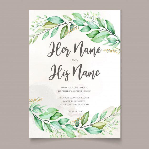 Watercolor Wedding Invitation Card In Green Leaves Watercolor Wedding Invitations Wedding Invitation Cards Wedding Invitations Leaves