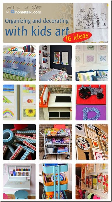16 Best Ways to Display Kids Art and Organize Kids Art Supplies! Setting for Four