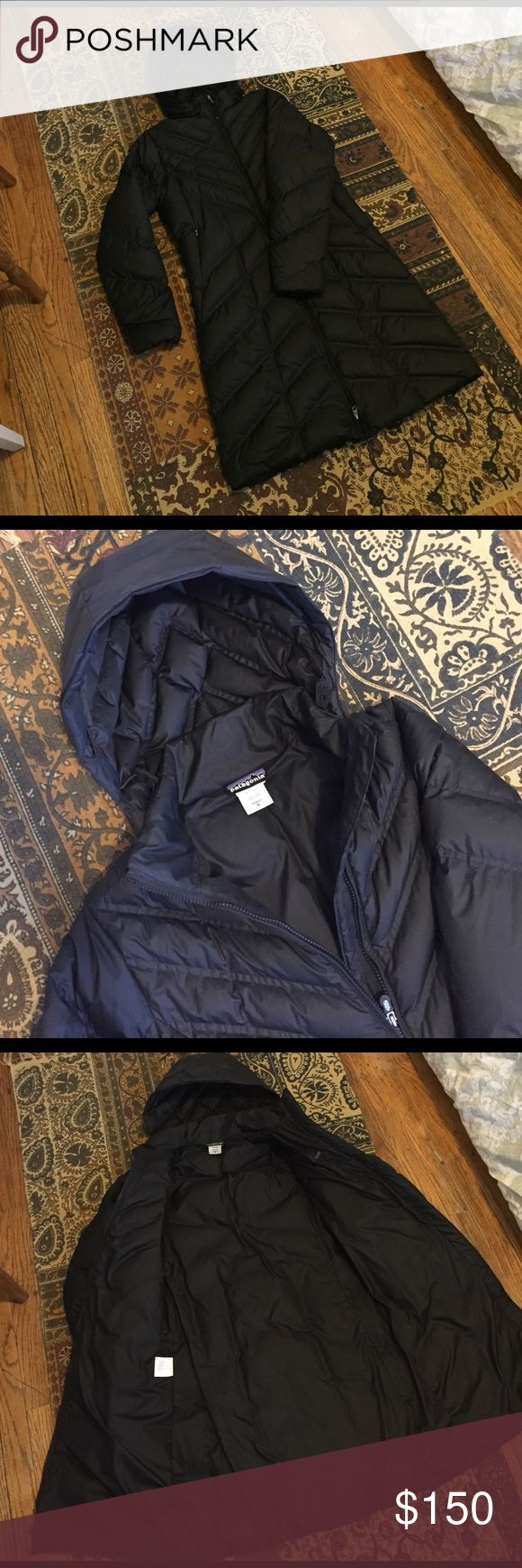 Patagonia black parka jacket Patagonia black parka jacket - size women's medium - removed hood - zip up - two zip exterior pockets - one interior zip pocket - in excellent basically brand new condition Patagonia Jackets & Coats Puffers
