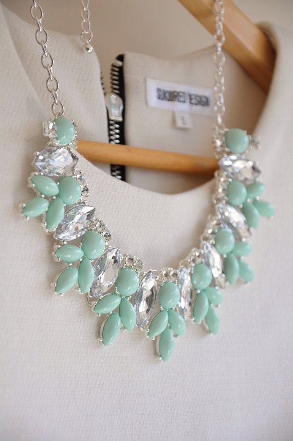 This statement necklace is chained with big and small mint and clear crystal pendants. I love this peaceful and fresh mint color. You can easily