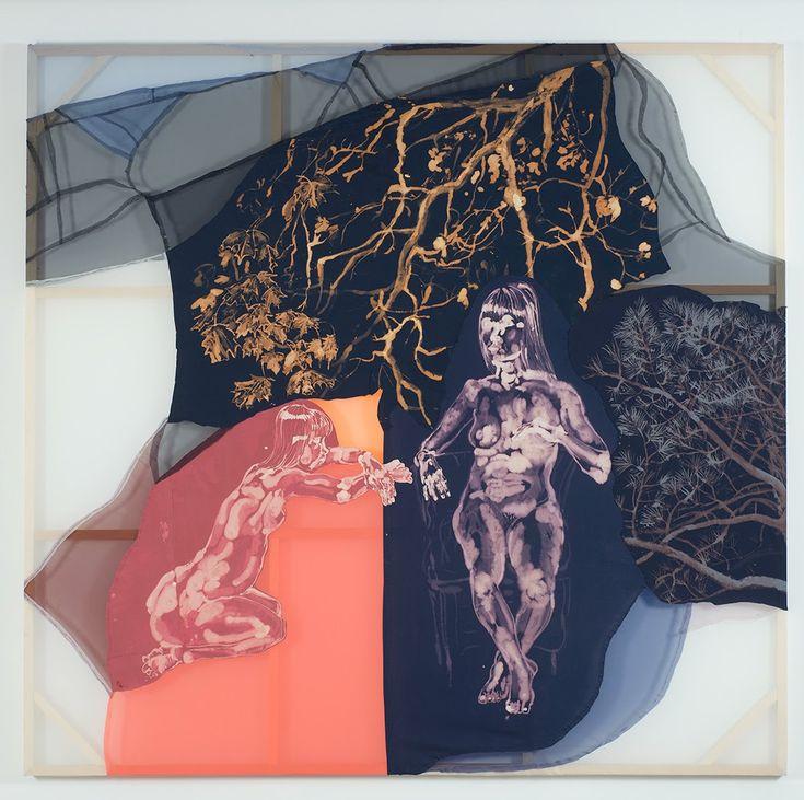 Lauren Luloff, 2 Jenns in the Forest, 2015, bleached bedsheets and fabric, 281,94 x 299,72 cm  www.laurenluloff.blogspot.it www.marlboroughchelsea.com www.coopercolegallery.com www.halseymckay.com