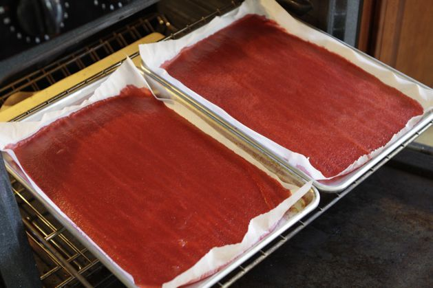 Homemade fruit roll-ups.  Click to get the full instructions.  4-5 large peaches (5 1/2 cups chopped)  2 1/2 cups fresh cherries  1 cup water  Sugar or agave, to taste