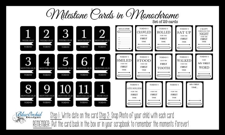 Monochrome Baby Milestone Cards | Baby Milestones | Photo Props | by BlueOrchidArtDesign on Etsy