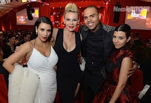 Kim Kardashian, Diana Jenkins, Chris Brown, Kourtney Kardashian attended the Elton John Foundation Academy Awards viewing party in Los Angeles.