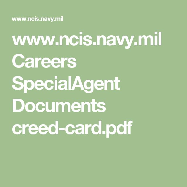 www.ncis.navy.mil Careers SpecialAgent Documents creed-card.pdf